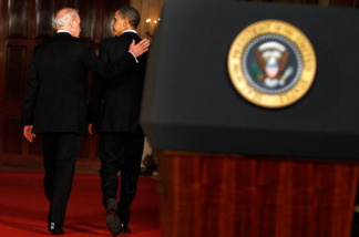U.S. President Barack Obama (R) and Vice President Joseph Biden (L) leave after making a statement at the East Room of the White House after the U.S. House of Representatives passed the health care reform legislation March 21, 2009 in Washington, DC. The proposed legislation has become the signature piece of Obama's domestic policy agenda and has eluded U.S. presidents dating back to Theodore Roosevelt.