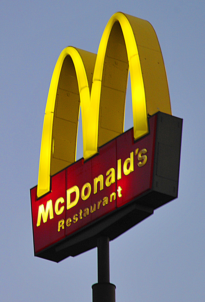 The sign for McDonald's restaurant is seen October 7, 2010 in Hudson, Wisconsin.