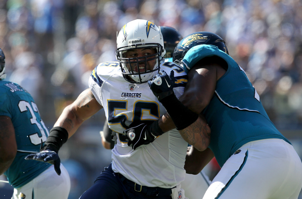 Former Chargers player Shawne Merriman is suing Nike, according to U-T San Diego. In 2010, Linebacker Shawne Merriman #56 of the San Diego Chargers fights against the block of tackle Eugene Monroe #75 of the Jacksonville Jaguars at Qualcomm Stadium on in San Diego, California. The Chargers won 38-13.