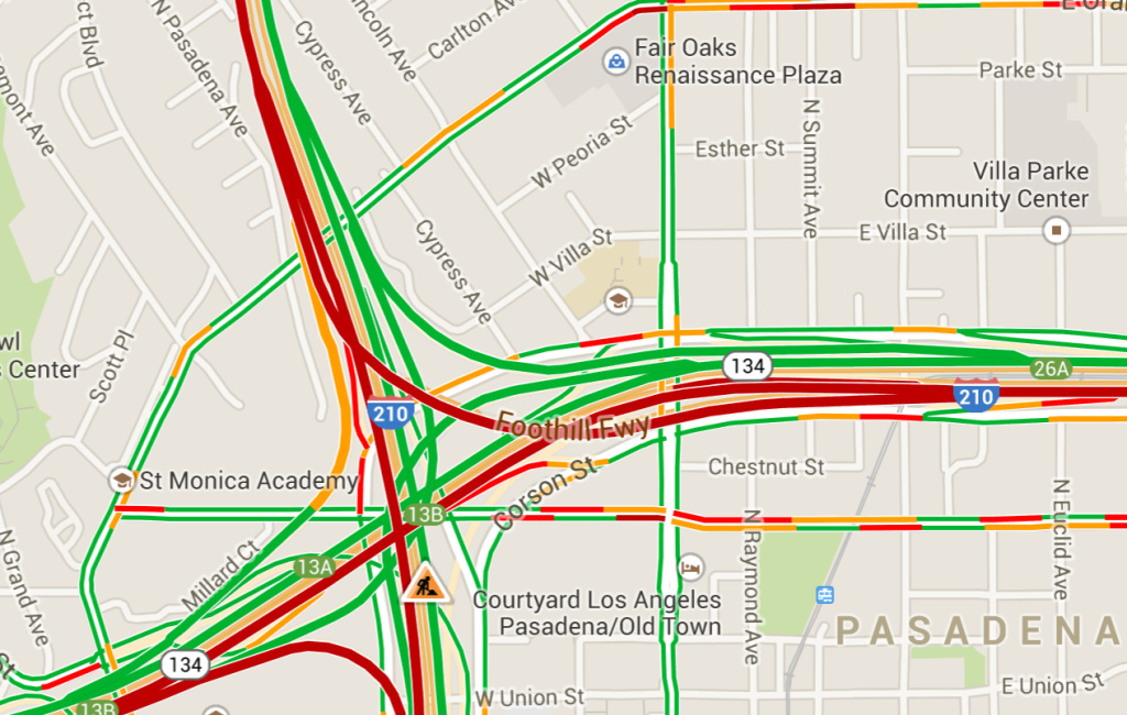 A screenshot of Google Maps in traffic view shows traffic on the 210 and surrounding freeways April 24, 2014.
