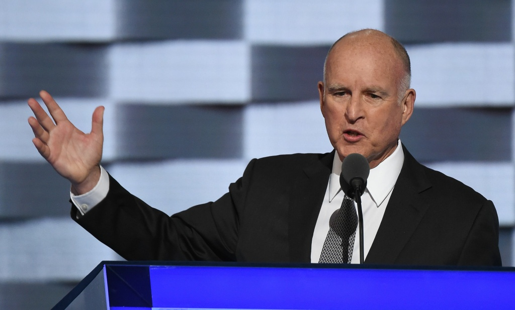 File: California Gov. Jerry Brown speaks during day three of the Democratic National Convention at the Wells Fargo Center in Philadelphia, Pennsylvania, July 27, 2016.