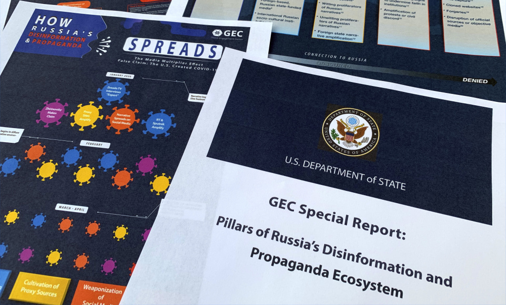 A State Department report on Russian online operations to promote conspiracy theories and misinformation. Some analysts also warn of
