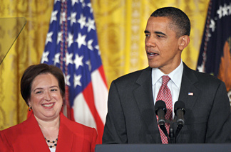 US President Barack Obama speaks at a reception in honour of designated Supreme Court justice Elena Kagan August 6, 2010 in the East Room of the White House in Washington, DC.