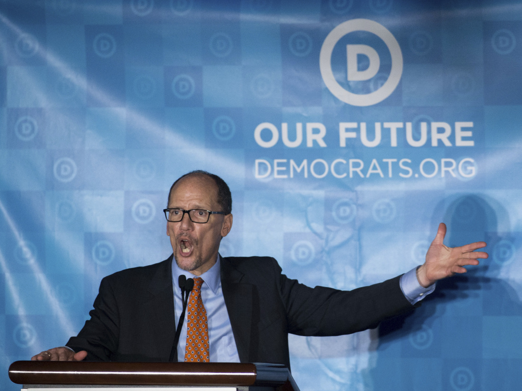 Newly elected Democratic National Committee Chairman Tom Perez gives a victory speech during the general session of the DNC winter meeting in Atlanta, Saturday, Feb. 25, 2017. Perez picked runner-up Rep. Keith Ellison, D-Minn, to be deputy chairman. (AP Photo/Branden Camp)
