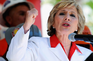 Barbara Boxer, at a rally in Los Angeles on Aug. 13.