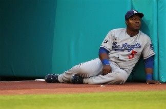 Juan Uribe #5 of the Los Angeles Dodgers looks on during a game against the Florida Marlins at Sun Life Stadium.