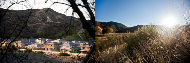 Left: Developers have shown interest in building housing tracts in rural areas near Cleveland National Forest. Right: A housing development in Rancho Santa Margarita.