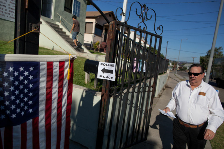 Fernando Gutierrez exits the polling station at La Puerta Abierta Fellowship in Glassell Park on June 5.