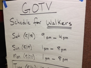 A get-out-the-vote schedule at the LA County Federation of Labor.