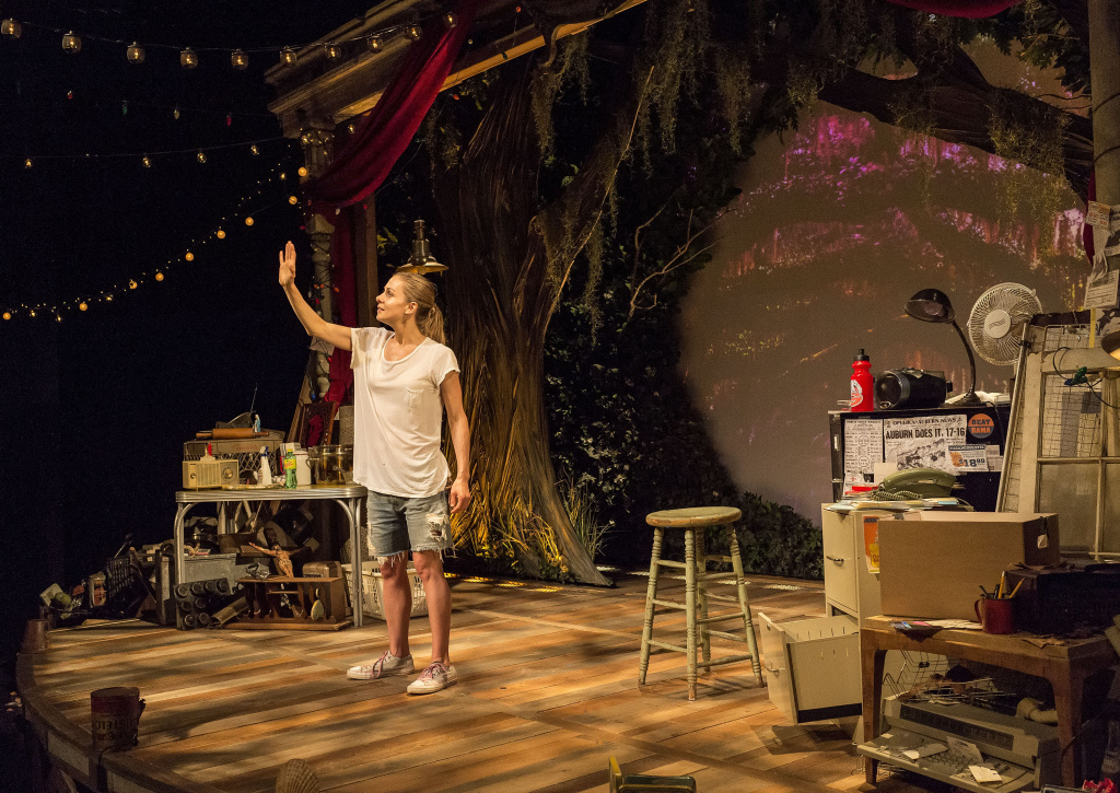 """Playwright/performer Lucy Alibar in """"Throw Me on the Burnpile and Light Me Up"""" at Center Theatre Group's Kirk Douglas Theatre."""