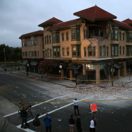 A building is seen destroyed following a reported 6.0 earthquake on August 24, 2014 in Napa, California.