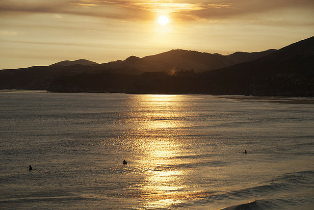 Sunset at Pismo Beach in California