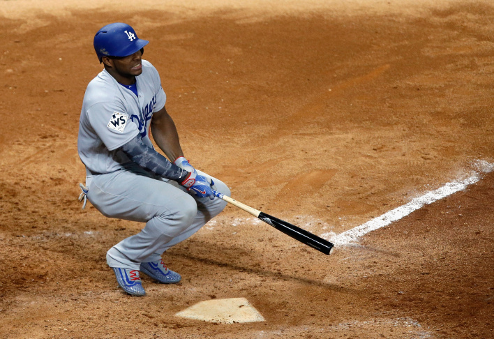 HOUSTON, TX - OCTOBER 27: Yasiel Puig #66 of the Los Angeles Dodgers reacts after striking out during the ninth inning against the Houston Astros in game three of the 2017 World Series at Minute Maid Park on October 27, 2017 in Houston, Texas.  (Photo by Bob Levey/Getty Images)