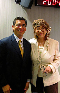California Congressman Xavier Becerra and Patt in the studio