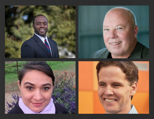 (Left to right, top to bottom) 2018 candidates for California Superintendent of Public Instruction Tony Thurmond, Steven Ireland, Lily Plosky, Marshall Tuck.
