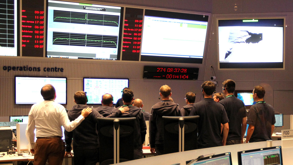 The main control room of the European Space Operation Center in Darmstadt, Germany, is pictured Friday during the controlled descent of the European Space Agency space probe Rosetta onto the surface of Comet 67P/Churyumov-Gerasimenko.
