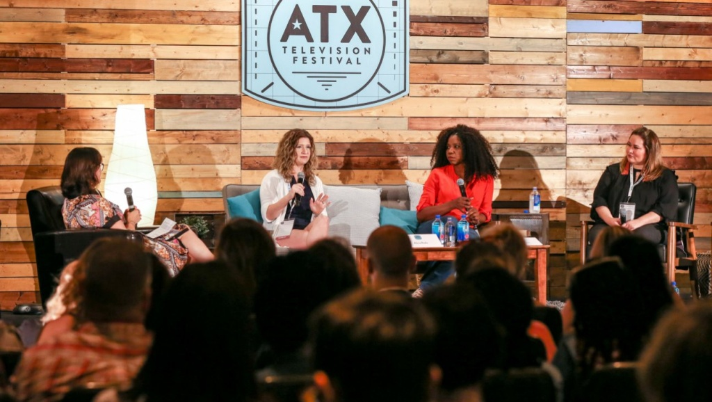A sex scene panel discussion with, from left:  Joy Blake, Alicia Rodis, Nicki Michaeux and Tanya Saracho