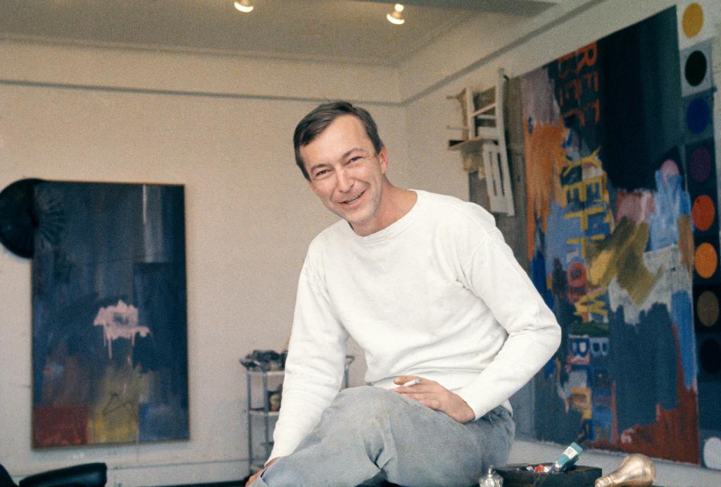 Jasper Johns in his Riverside Drive studio in New York City in 1964