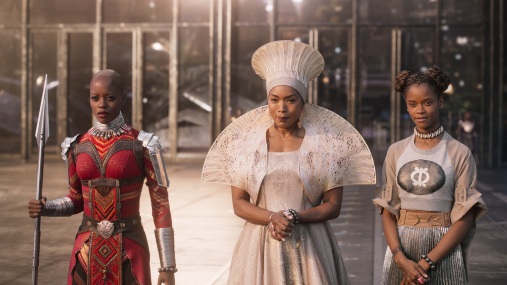 Florence Kasumba (left), Angela Bassett and Leititia Wright appear in a scene from Marvel's <em>Black Panther</em>. Sociologist Darnell Hunt says the film's success
