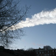 A meteor's vapor trail above  the city of Chelyabinsk, Russia, on Friday.