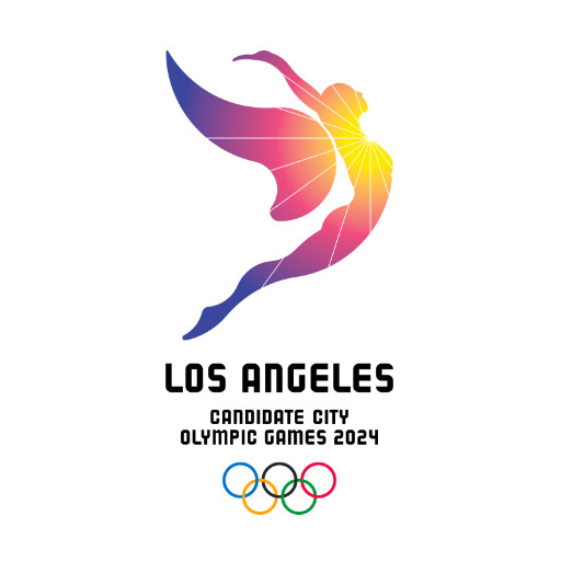 The logo for Los Angeles' 2024 Olympic bid shows an athlete rising up toward the sun. Revealed on Tuesday the logo, along with the slogan