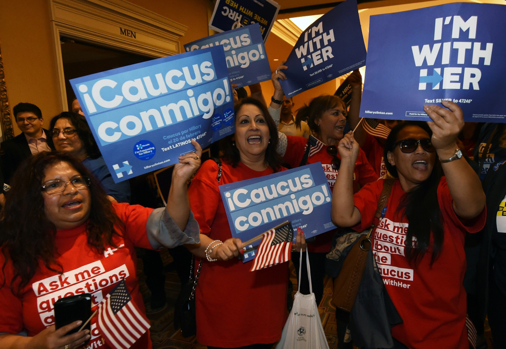 LAS VEGAS, NV - FEBRUARY 20:  Voters chant as they wait in line to get into a Democratic caucus at Caesars Palace on February 20, 2016 in Las Vegas, Nevada. Nevada voters are caucusing to decide between Democratic presidential candidates Hillary Clinton and Sen. Bernie Sanders (D-VT).  (Photo by Ethan Miller/Getty Images)
