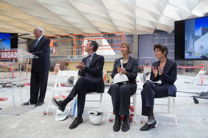 Eli Broad, Eric Garcetti, Joanne Heylar and Elizabeth Scofidio address the media at The Broad on September 17th, 2013.