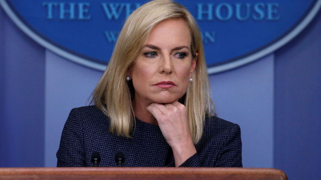 Homeland Security Secretary Kirstjen Nielsen, the face of the Trump administration's policy that has split up migrant families, was heckled inside a Mexican restaurant. She's seen here at Monday's daily briefing at the White House.