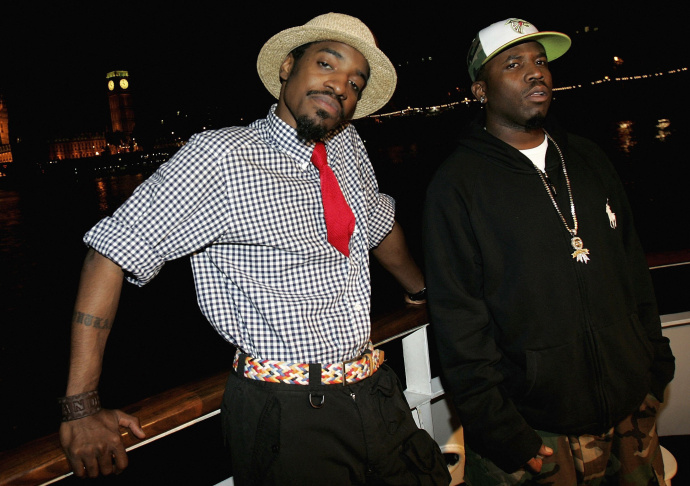 Andre 3000 (L) and Big Boi of Outkast pose on a river boat in front of Big Ben and the Houses of Parliament at their album launch party on July 26, 2006 in London, England. OutKast are set to headline the Coachella Valley Music and Arts Festival in 2014.