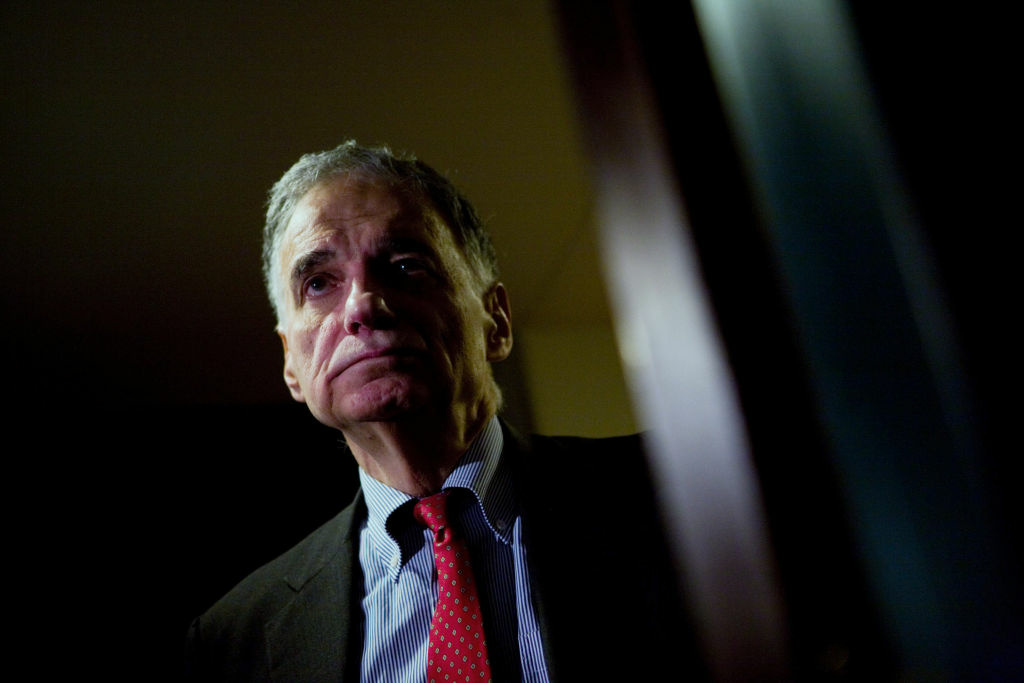 Ralph Nader listens from the hallway during a press conference at the National Press Club Feb. 28, 2008 in Washington, D.C.
