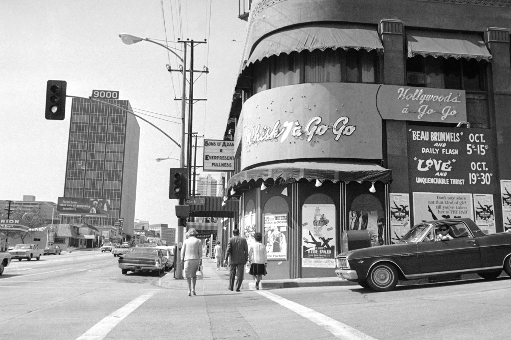 Sunset Strip in Hollywood, at corner of Clark street in Los Angeles on Oct. 4, 1966. At right is Whisky a Go Go, well-known night club. (AP Photo/HF)