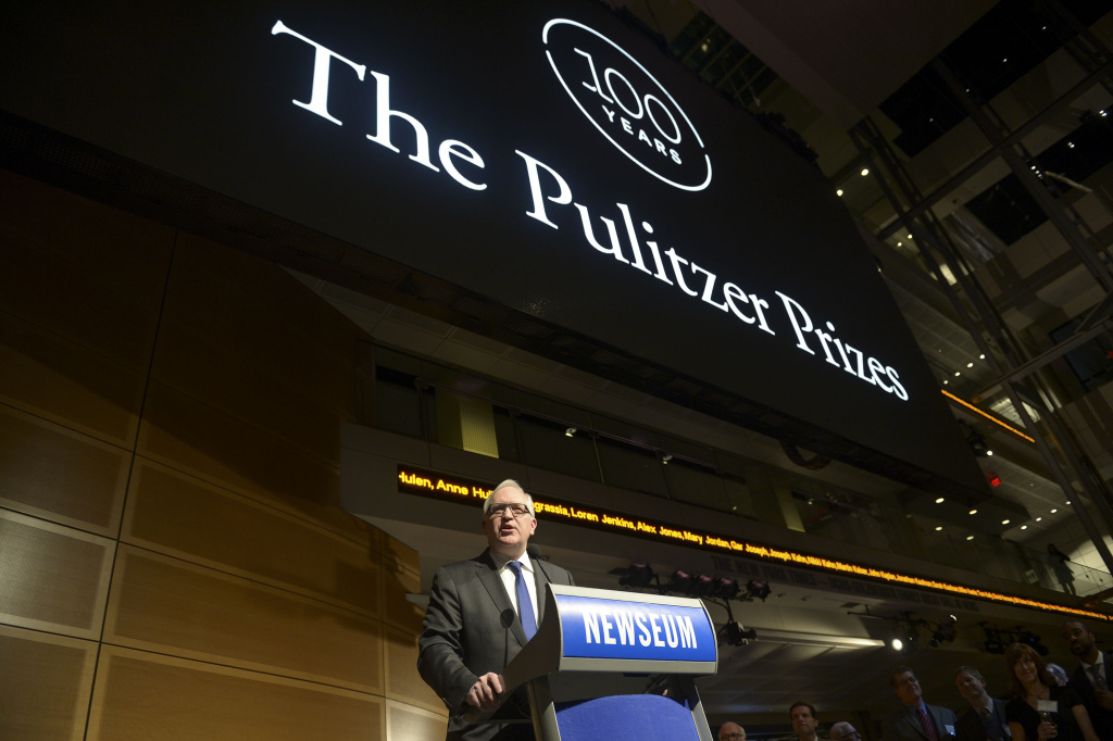 Paul Gigot, Pulitzer Prize Board Chair and Editorial Page Director, The Wall Street Journal, makes opneing remarks during the Centennial Celebration of Pulitzer Prizes at The Newseum in Washington, DC.