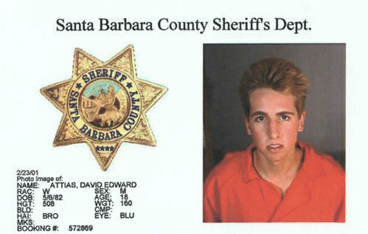 UC Santa Barbara freshman David Edward Attias, 18, of Santa Monica, sits in a holding cell Tuesday Feb. 27, 2001 in Superior Court in Santa Barbara.