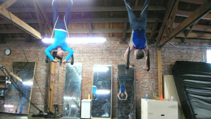 Students practice at the Cirque School L.A. in Los Angeles.