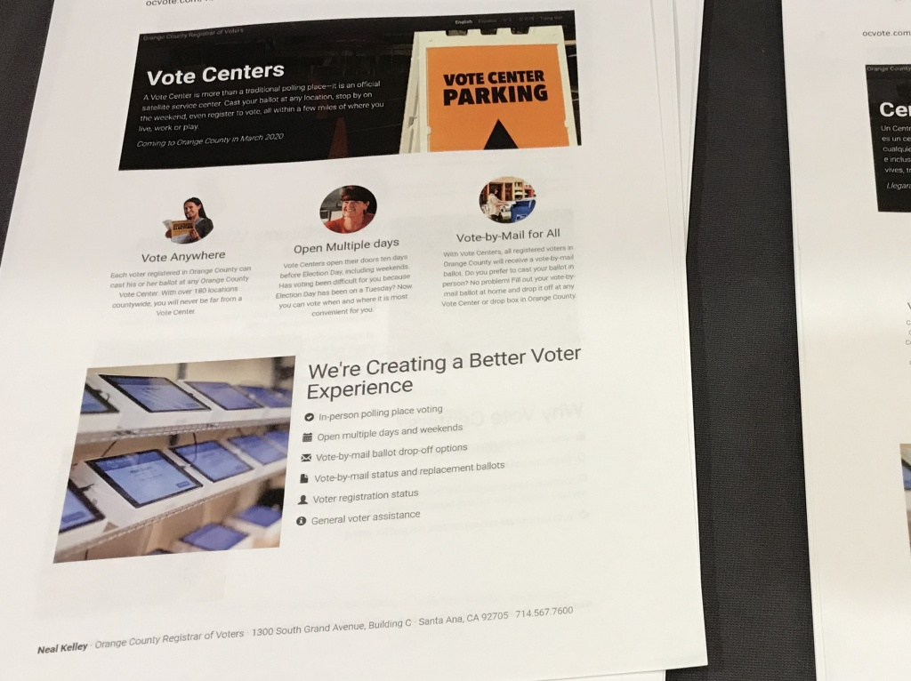 Vote centers will replace neighborhood polling places in Orange County in 2020. The change is intended to make voting more convenient and improve security.