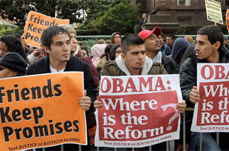 When President Obama attended a fundraiser at the Fairmont Hotel in San Francisco on May 25, protesters gathered outside. Some pushed for reform of immigration law -- an issue of great importance to many Hispanics.