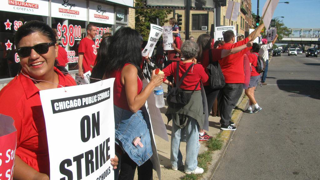 Chicago teachers go on strike on Monday Sept. 10, 2012.