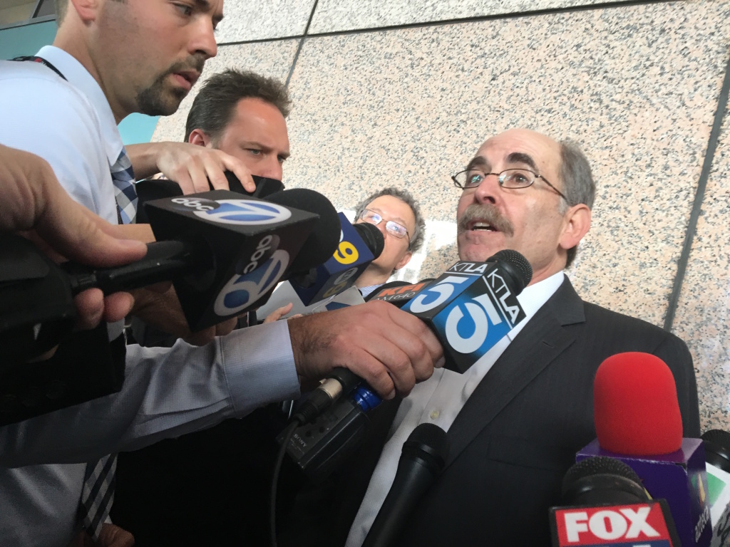 Michael Rubin, an attorney representing California's two largest teachers unions, fields media questions after oral arguments in the California Court of Appeals in the Vergara v. California case.