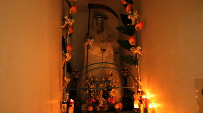 Followers of Santa Muerte or The Holy Death worship in Los Angeles.