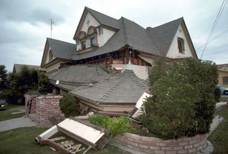 An unbolted cripple wall home that collapsed during the 1989 Loma Prieta Quake.