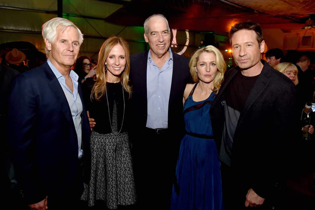 (L-R) Executive producer/director Chris Carter, Dana Walden, Co-Chairman-CEO, Fox Television Group, Gary Newman, Co-Chairman-CEO, Fox Television Group, actress Gillian Anderson and actor David Duchovny pose at the after party for the premiere of Fox's