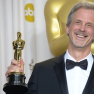 "William Goldenberg celebrates winning the Best Film Editing Award for ""Argo"" at the 2013 Academy Awards."