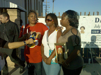 Diane McQueen, from left, Shamika Smith, and Javonna Peters, talk to the press on Tuesday, Aug. 10, 2010 outside Bethel African Methodist Episcopal Church in Los Angeles. They paid tribute to their family member Janecia Peters, in the picture, who was believed to be the last victim of the 'Grim Sleeper' serial killer in 2007.