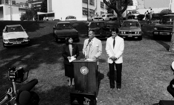 Roz Wyman was the second woman ever elected to the Los Angeles City Council. She's seen here in 1972 with Ted Kennedy.