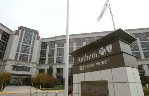 The headquarters of Blue Cross Blue Shield health insurer Anthem Inc. is seen October 27, 2003, in Indianapolis, Indiana.