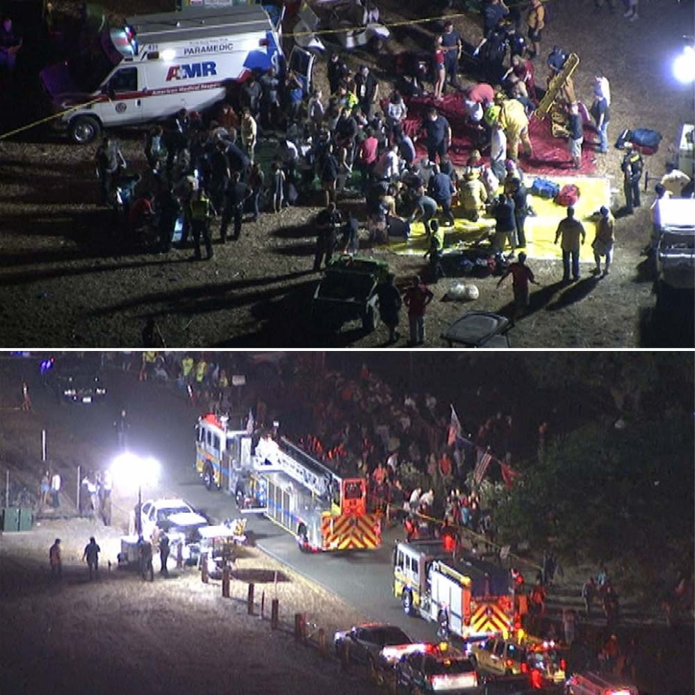 NBC4 footage shows emergency responders on scene where a fireworks mishap led to the injuries of 28 people in Simi Valley.