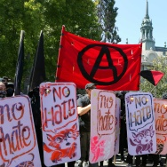 Antifa members and counter protesters gather at the rightwing No To Marxism rally on August 27, 2017 at Martin Luther King Jr. Park in Berkeley, California.