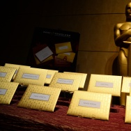 Announcement cards and envelopes by designer Marc Friedland which are used by presenters at the Oscars to announce winners are on display at the food and decor preview Feb. 4, 2015 of this years Governors Ball, the post-Oscar celebration which follows the 87th Oscars ceremony on Feb. 22 in Hollywood.