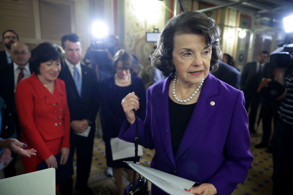 Senate Judiciary Committee ranking member Sen. Dianne Feinstein (D-CA) arrives for a news conference following a hearing about sexual, emotional and physical abuse by USA Gymnastics officials.