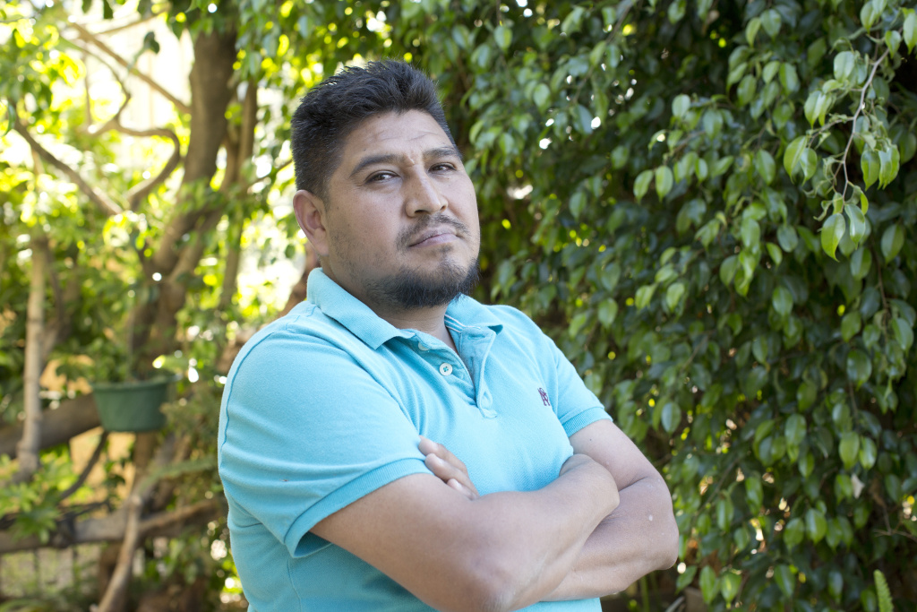 Gabriel Zamora in Los Angeles on April 5, 2016. He's among those without legal resident status hoping to connect with a voter through the Vote Allies project.